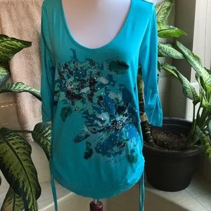 DKNY Jeans aqua top with button-up sleeves